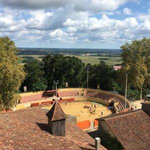 Les arènes vues du clocher de l'église